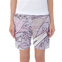 Newspaper Patterns Cutting Up Fabric Women s Basketball Shorts