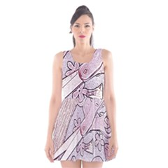 Newspaper Patterns Cutting Up Fabric Scoop Neck Skater Dress