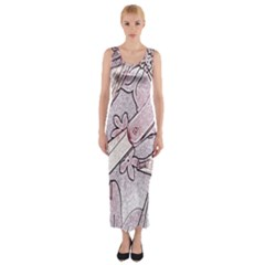 Newspaper Patterns Cutting Up Fabric Fitted Maxi Dress
