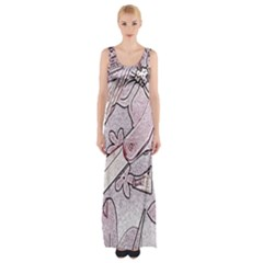 Newspaper Patterns Cutting Up Fabric Maxi Thigh Split Dress