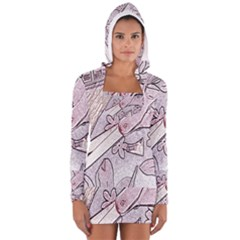 Newspaper Patterns Cutting Up Fabric Women s Long Sleeve Hooded T-shirt