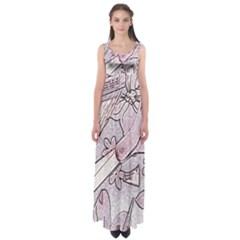 Newspaper Patterns Cutting Up Fabric Empire Waist Maxi Dress