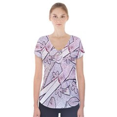 Newspaper Patterns Cutting Up Fabric Short Sleeve Front Detail Top