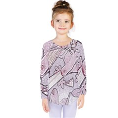 Newspaper Patterns Cutting Up Fabric Kids  Long Sleeve Tee
