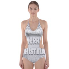 Oints Circle Christmas Merry Cut Out One Piece Swimsuit
