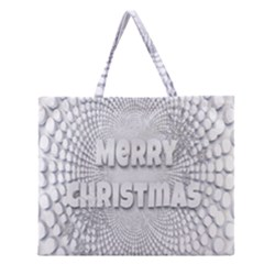 Oints Circle Christmas Merry Zipper Large Tote Bag