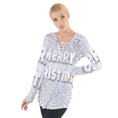 Oints Circle Christmas Merry Women s Tie Up Tee