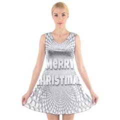 Oints Circle Christmas Merry V Neck Sleeveless Skater Dress