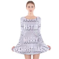 Oints Circle Christmas Merry Long Sleeve Velvet Skater Dress