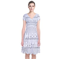 Oints Circle Christmas Merry Short Sleeve Front Wrap Dress