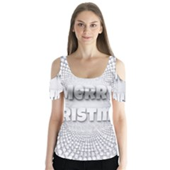 Oints Circle Christmas Merry Butterfly Sleeve Cutout Tee