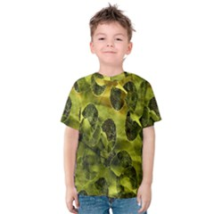 Olive Seamless Camouflage Pattern Kids  Cotton Tee
