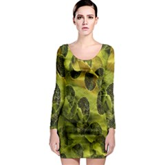 Olive Seamless Camouflage Pattern Long Sleeve Bodycon Dress