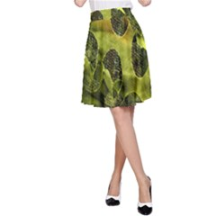 Olive Seamless Camouflage Pattern A Line Skirt