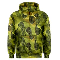Olive Seamless Camouflage Pattern Men s Zipper Hoodie