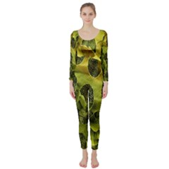 Olive Seamless Camouflage Pattern Long Sleeve Catsuit