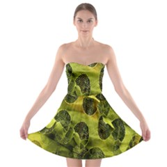 Olive Seamless Camouflage Pattern Strapless Bra Top Dress