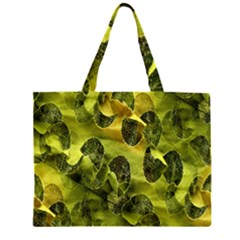 Olive Seamless Camouflage Pattern Zipper Large Tote Bag
