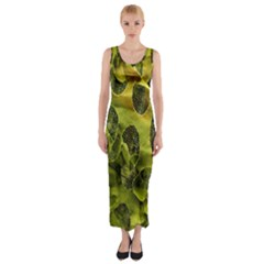 Olive Seamless Camouflage Pattern Fitted Maxi Dress