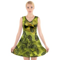 Olive Seamless Camouflage Pattern V-Neck Sleeveless Skater Dress