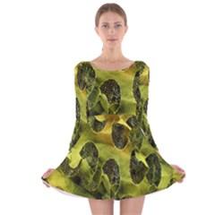 Olive Seamless Camouflage Pattern Long Sleeve Velvet Skater Dress