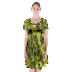 Olive Seamless Camouflage Pattern Short Sleeve V-neck Flare Dress