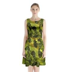 Olive Seamless Camouflage Pattern Sleeveless Chiffon Waist Tie Dress