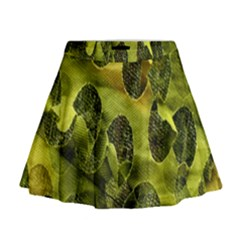 Olive Seamless Camouflage Pattern Mini Flare Skirt