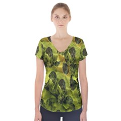 Olive Seamless Camouflage Pattern Short Sleeve Front Detail Top