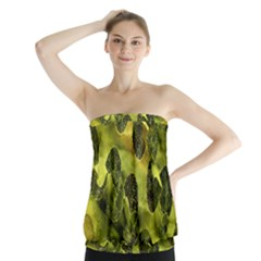 Olive Seamless Camouflage Pattern Strapless Top