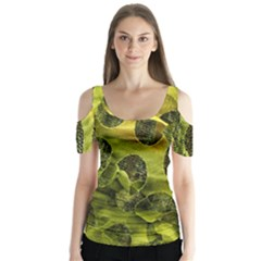 Olive Seamless Camouflage Pattern Butterfly Sleeve Cutout Tee