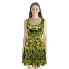 Olive Seamless Camouflage Pattern Split Back Mini Dress