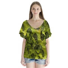 Olive Seamless Camouflage Pattern Flutter Sleeve Top