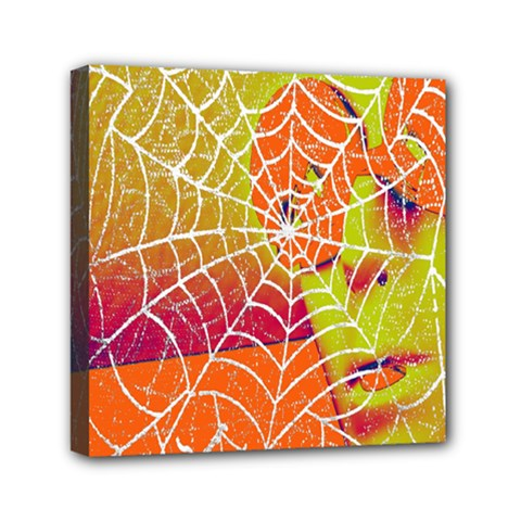 Orange Guy Spider Web Mini Canvas 6  x 6