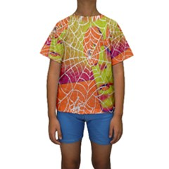 Orange Guy Spider Web Kids  Short Sleeve Swimwear