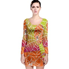 Orange Guy Spider Web Long Sleeve Bodycon Dress