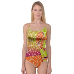 Orange Guy Spider Web Camisole Leotard