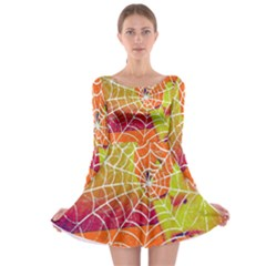 Orange Guy Spider Web Long Sleeve Skater Dress