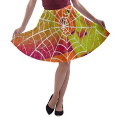 Orange Guy Spider Web A Line Skater Skirt