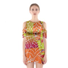 Orange Guy Spider Web Shoulder Cutout One Piece