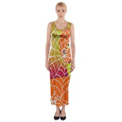 Orange Guy Spider Web Fitted Maxi Dress