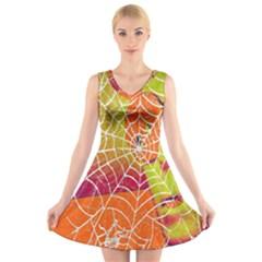 Orange Guy Spider Web V Neck Sleeveless Skater Dress