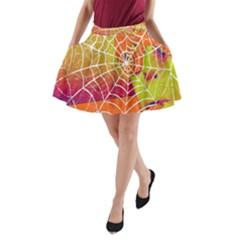 Orange Guy Spider Web A-Line Pocket Skirt