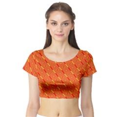 Orange Pattern Background Short Sleeve Crop Top (tight Fit)
