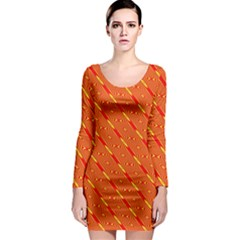 Orange Pattern Background Long Sleeve Bodycon Dress