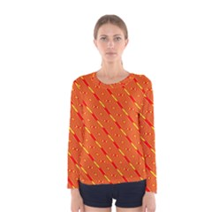 Orange Pattern Background Women s Long Sleeve Tee