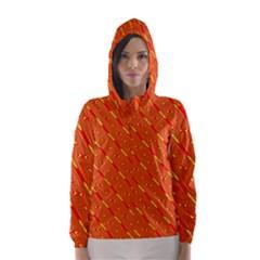 Orange Pattern Background Hooded Wind Breaker (Women)
