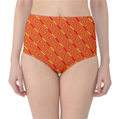 Orange Pattern Background High-Waist Bikini Bottoms