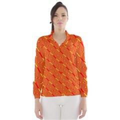 Orange Pattern Background Wind Breaker (women)