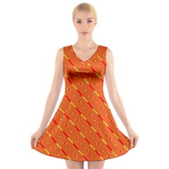 Orange Pattern Background V Neck Sleeveless Skater Dress